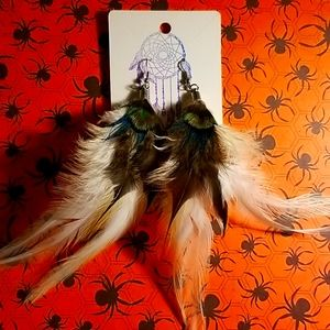Handmade in the USA peacock feather earrings